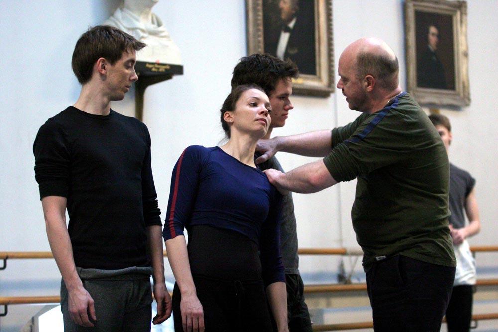 <I>Ghosts</I> rehearsal: Ulrik Birkkaer, Silja Schandorff, Alexander Staeger and Kim Brandstrup.<br />© Rene Erik Olsen. (Click image for larger version)