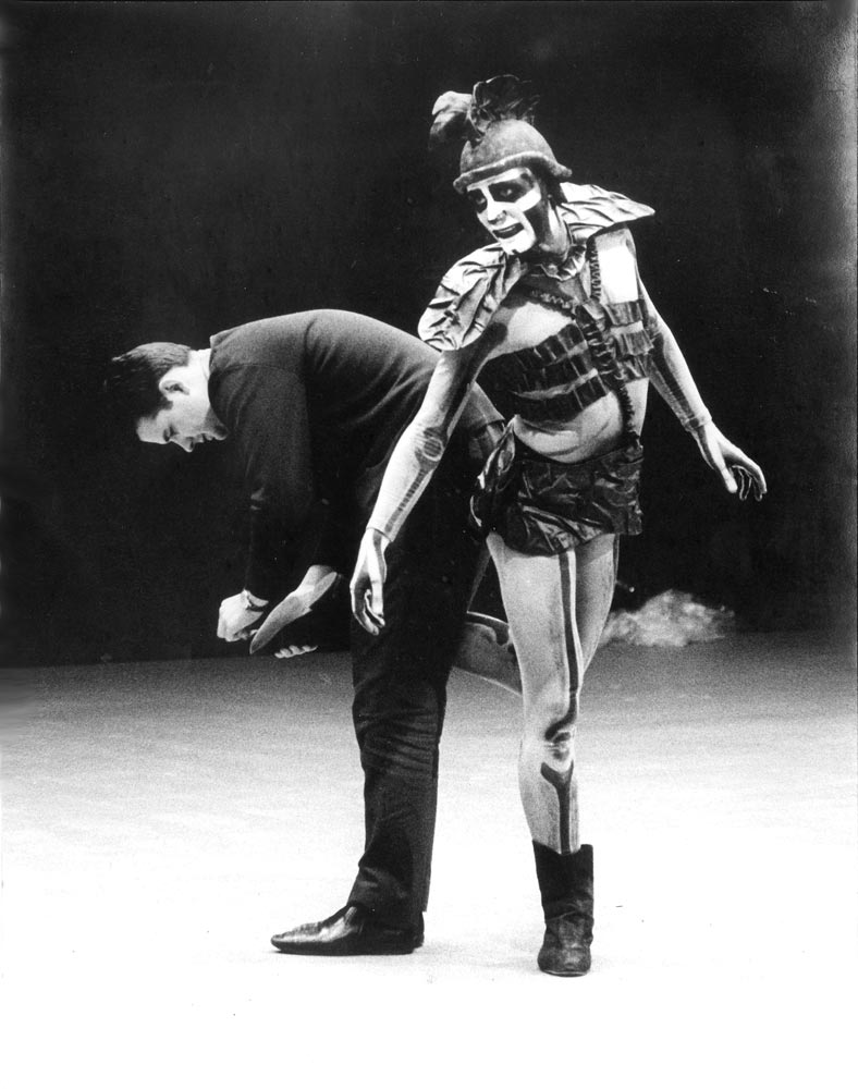 Bob Lockyer adjusting the costume of Winfried Kirsch as Death in Kurt Jooss's The Green Table, filmed for BBC TV in 1967. photo © Anthony Crickmay.