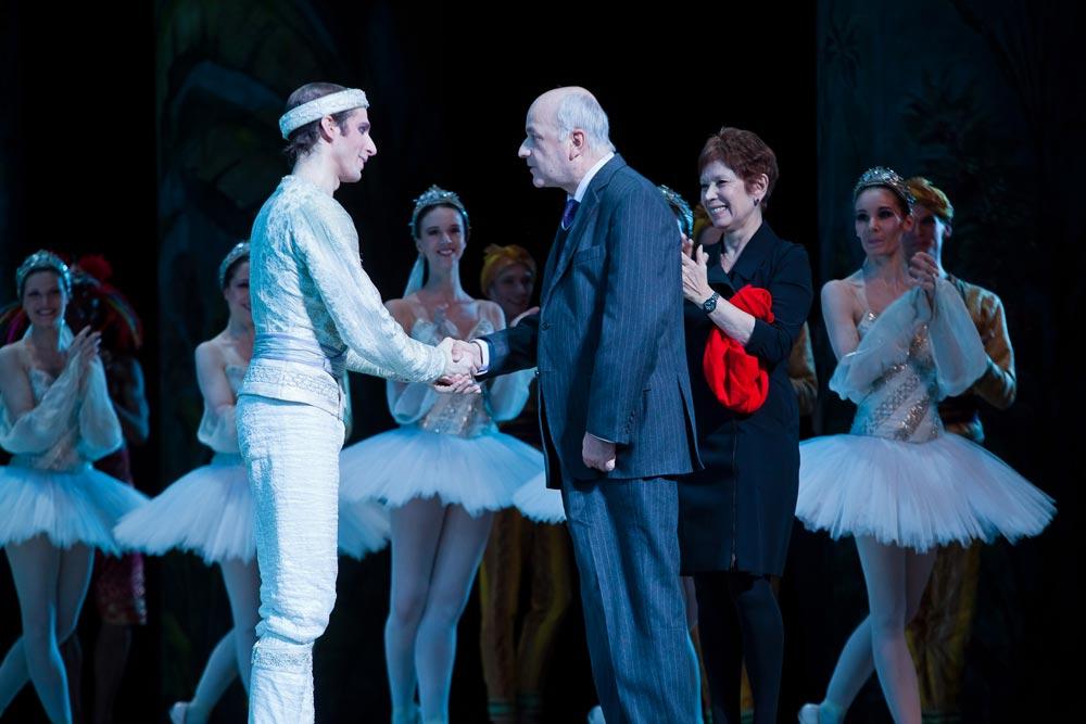 Josua Hoffalt being promoted to étoile, with Nicolas Joel, Directeur de l'Opéra national de Paris & Brigitte Lefèvre, Directrice de la Danse. © Agathe Pouponey.