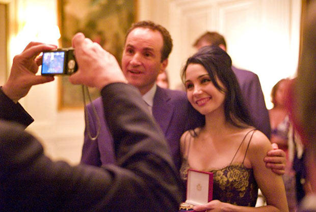 Tamara Rojo with the Spanish ambassador. She was decorated - The Order of Isabella the Catholic - on 6 September 2011. © Bruce Marriott. Click image for larger version, or one that fills the browser window.