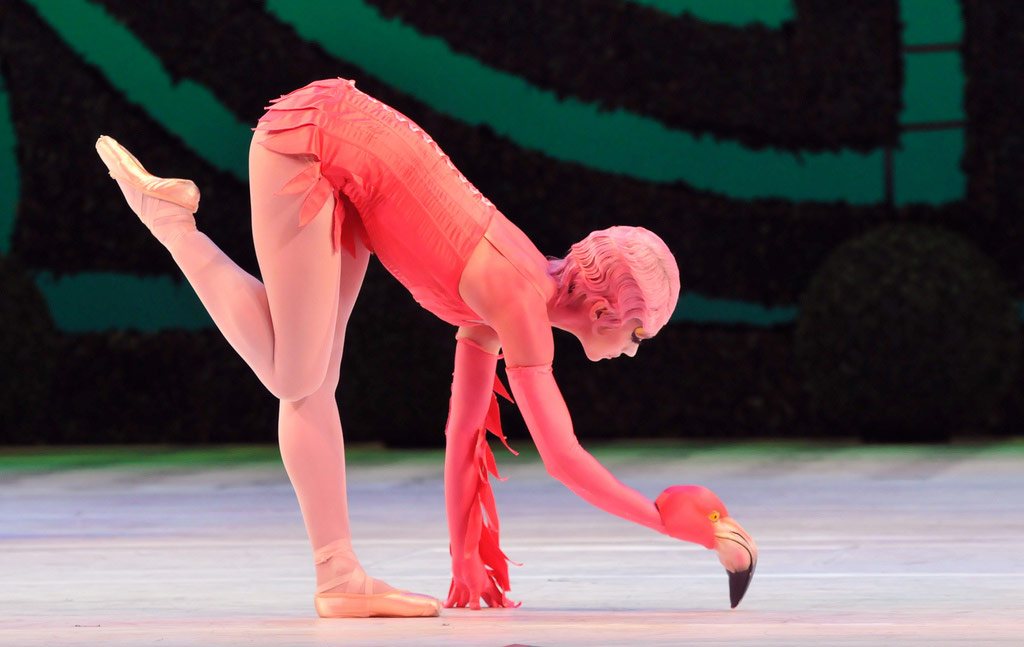 Romany Pajdak as a Flamingo in Alice's Adventures in Wonderland. © Dave Morgan.