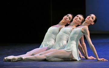 Begona Cao, Daria Klimentova and Anais Chalendard in Apollo. © Dave Morgan. (Click image for larger version)