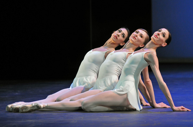 Begona Cao, Daria Klimentova and Anais Chalendard in Apollo. © Dave Morgan. (Click image for larger version)