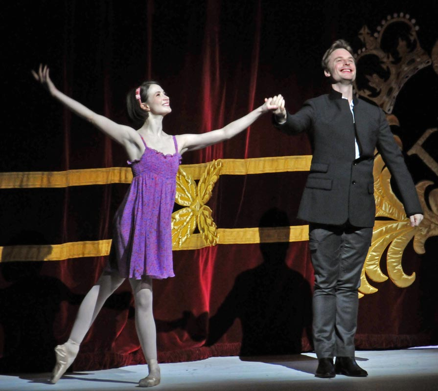 Lauren Cuthbertson and Christopher Wheeldon at the curtain call for Alice's Adventures in Wonderland, 2 March 2011. © Dave Morgan.