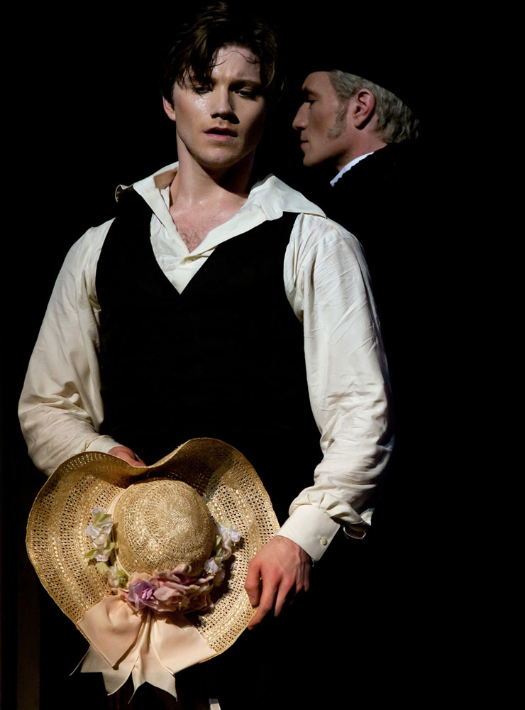 Alban Lendorf as Armand and Nikolaj Hübbe as his father in Lady of the Camellias.  © Costin Radu. (Click image for larger version)