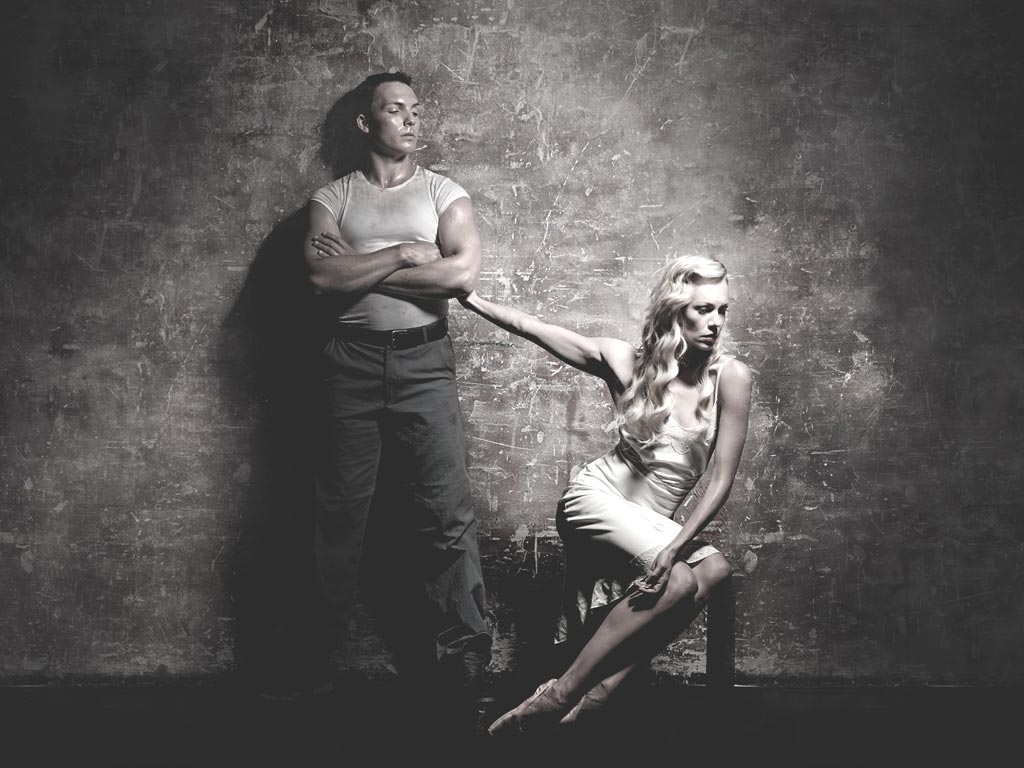 Eve Mutso and Tama Barry in a publicity image for <I>A Streetcar Named Desire</I>.<br />© Graham Wylie. (Click image for larger version)