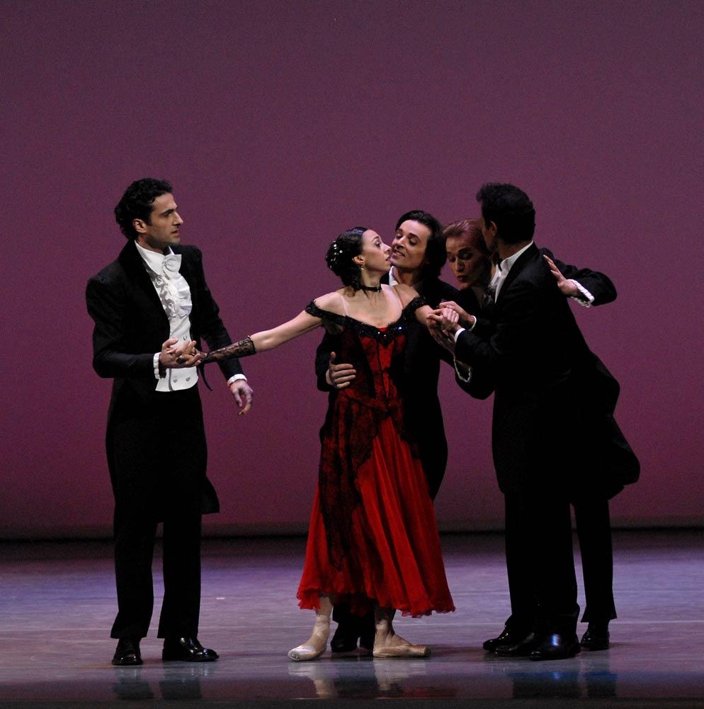 Nina Ananiashvili with (from left) Vasil Akhmeteli, Angel Corella, Denis Matvienko, Jose Manuel Carreno in Waltz. © Lado Vachnadze. (Click image for larger version)