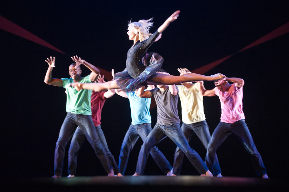 Adrienne Cantera with the Bad Boys of Dance. © Nikolai Krusser. (Click image for larger version)