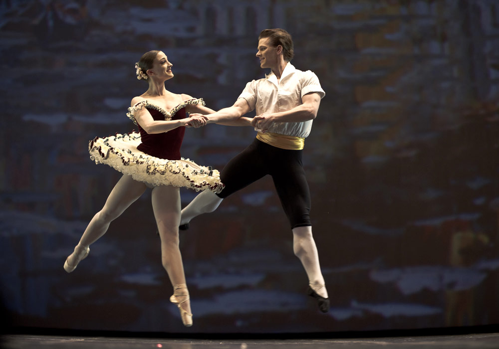 Ashley Bouder and Daniel Ulbricht in Tarantella. © Nikolai Krusser. (Click image for larger version)