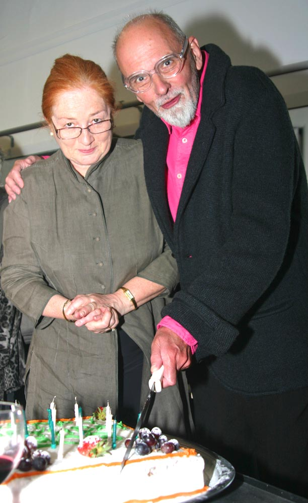 Bob Lockyer with Veronica Lewis (Director London Contemporary Dance School) at Bob's Birthday Bash held at The Place, 13 April 2012.  © Richard Thompson. (Click image for larger version)