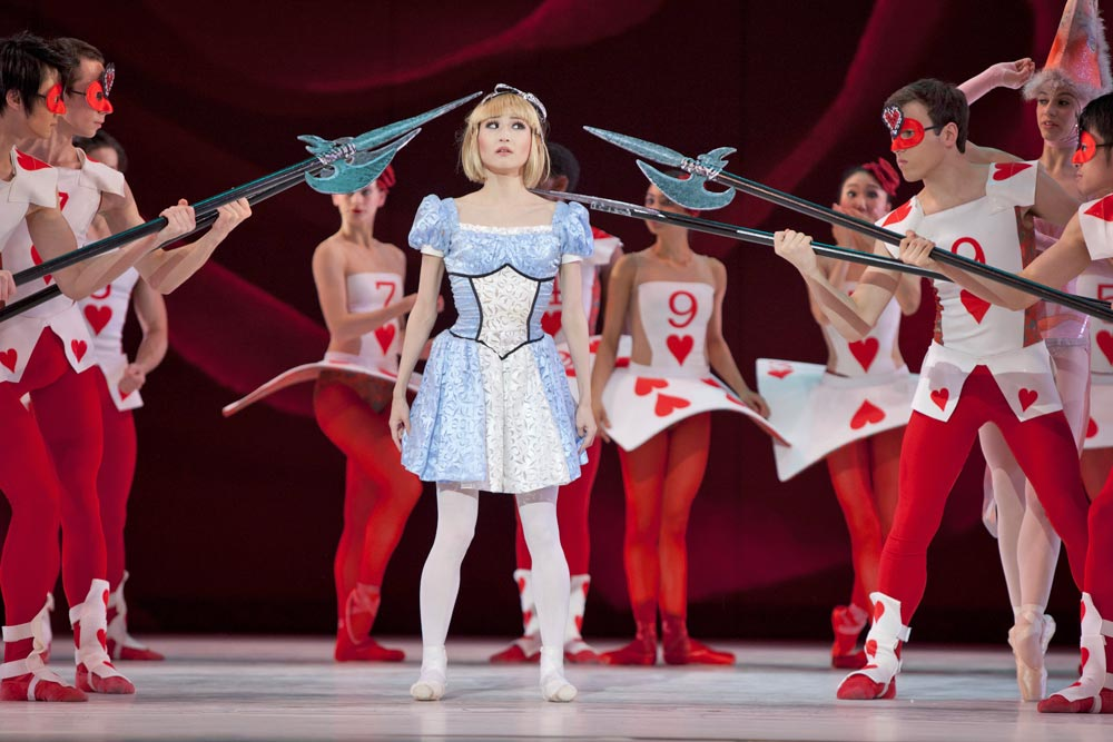 Maki Onuki (Alice) amongst the Card Guards in The Washington Ballet's Alice (in Wonderland). © Brianne Bland. (Click image for larger version)