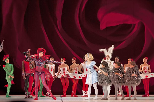 Sona Kharatian (The Queen of Hearts), Maki Onuki (Alice) and Jonathan Jordan (The White Rabbit) in The Washington Ballet's Alice (in Wonderland). © Brianne Bland. (Click image for larger version)