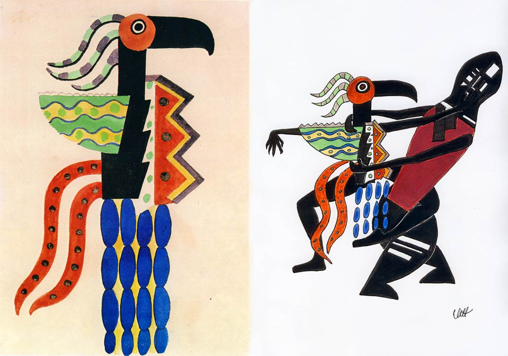 Design for the Green Wing Bird by Fernand Léger, 1923, left (© Bengt Häger, Swedish Ballet. London: Thames & Hudson, 1990). Drawing by Millicent Hodson turning the design into dance, right (© Millicent Hodson. Click image for larger version)