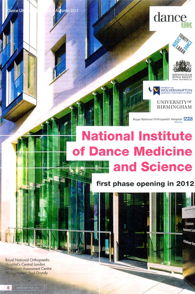 A page from Dance UK News showing the entrance to the Royal National Orthopaedic Hospital and listing the institutions involved in NIDMS. © Dance UK. (Click image for larger version)
