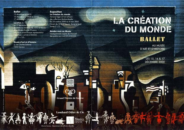 Programme for the re-creation of the ballet with the Ballet of the Grand Théâtre de Genève, 2000. Léger's decor with his sculptures of the three deities and, to the side, images of their messengers. At the bottom the full cast of characters drawn by Millicent Hodson after Léger's costume designs. © Ballet du Grand Theatre de Geneve, Millicent Hodson and Kenneth Archer. (Click image for larger version)