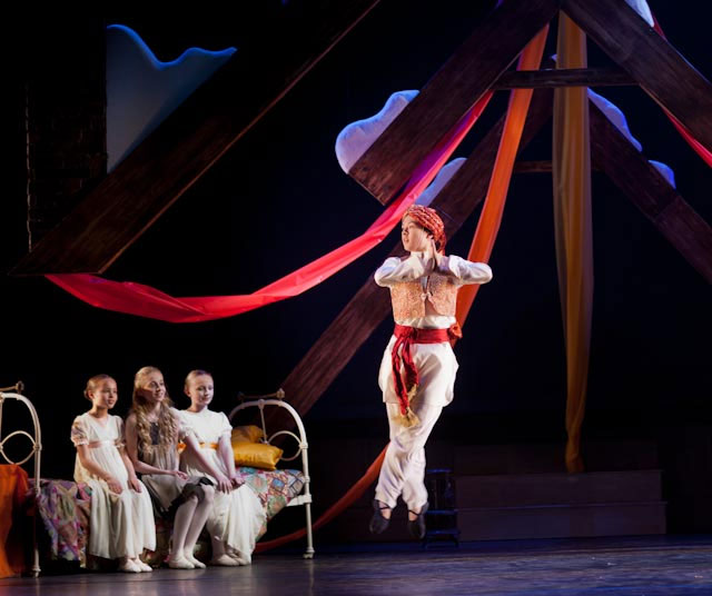Ram Dass (Kai Tomioka) dancing in the Attic for Sara and friends -  A Little Princess. © London Children's Ballet.