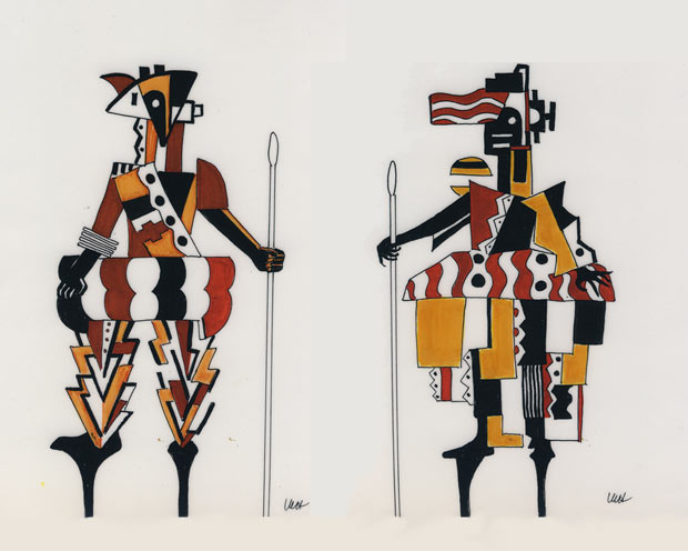 Leger's designs for the Messengers animated with their stilts and lances. Both drawings by Millicent Hodson. © Millicent Hodson. (Click image for larger version)