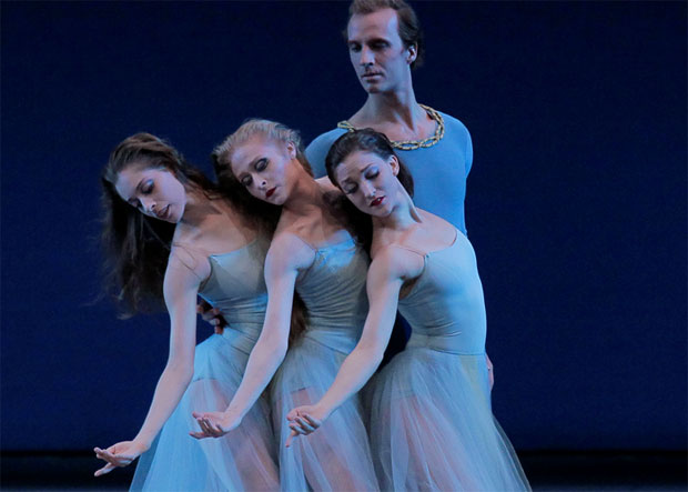 Ask la Cour, Rebecca Krohn, Janie Taylor and Ashley Bouder in Serenade. © Paul Kolnik. (Click image for larger version)