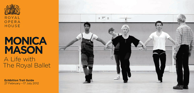 Cover of Trail Guide to the Exhibition. The picture shows Monica Mason with Donald MacLeary (far right) rehearsing Carlos Acosta, Darcey Bussell and Gary Avis in Song of the Earth for Bussell's farewell performance, June 2007 (© Rob Moore). © Royal Opera House. (Click image for larger version)