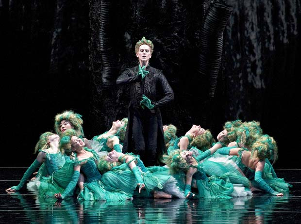 David Hallberg as Kaschei, with the maidens in Firebird. © Gene Schiavone. (Click image for larger version)