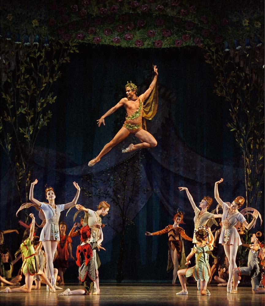 Adam Hendrickson as Puck in Balanchine's A Midsummer Night's Dream. © Paul Kolnik. (Click image for larger version)