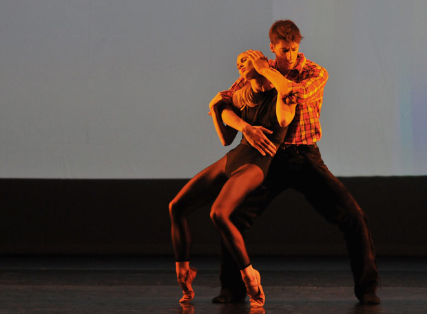 Hayley Forskitt and Luca Rapis in Kristen McNally's <I>Lonesome Gun</I>, part of New English Bellet Theatre's <I>Synergies</I> bill. © Dave Morgan. (Click image for larger version)