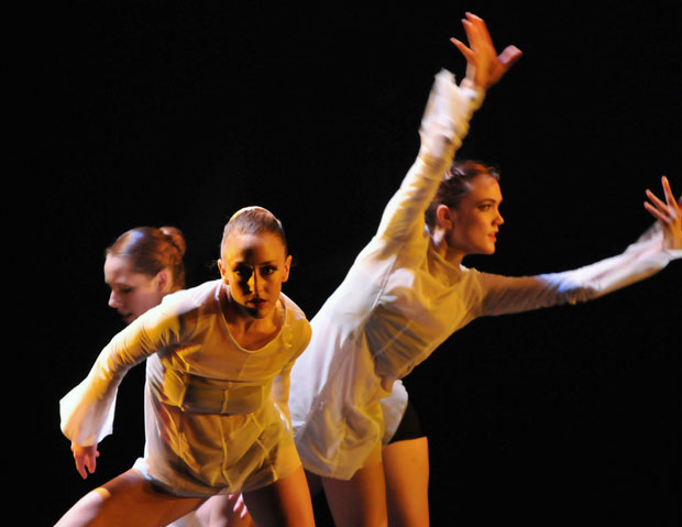 Eugenia Brezzi - and Katya Bourvis, Hayley Blackburn in George Wiliamson's <I>Threefold</I>.<br />© Dave Morgan. (Click image for larger version)