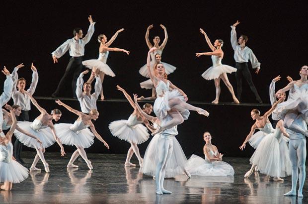 Aurelie Dupont and Paris Opera Ballet in Serge Lifar's <I>Suite en Blanc</I>.<br />© Stephanie Berger. (Click image for larger version)