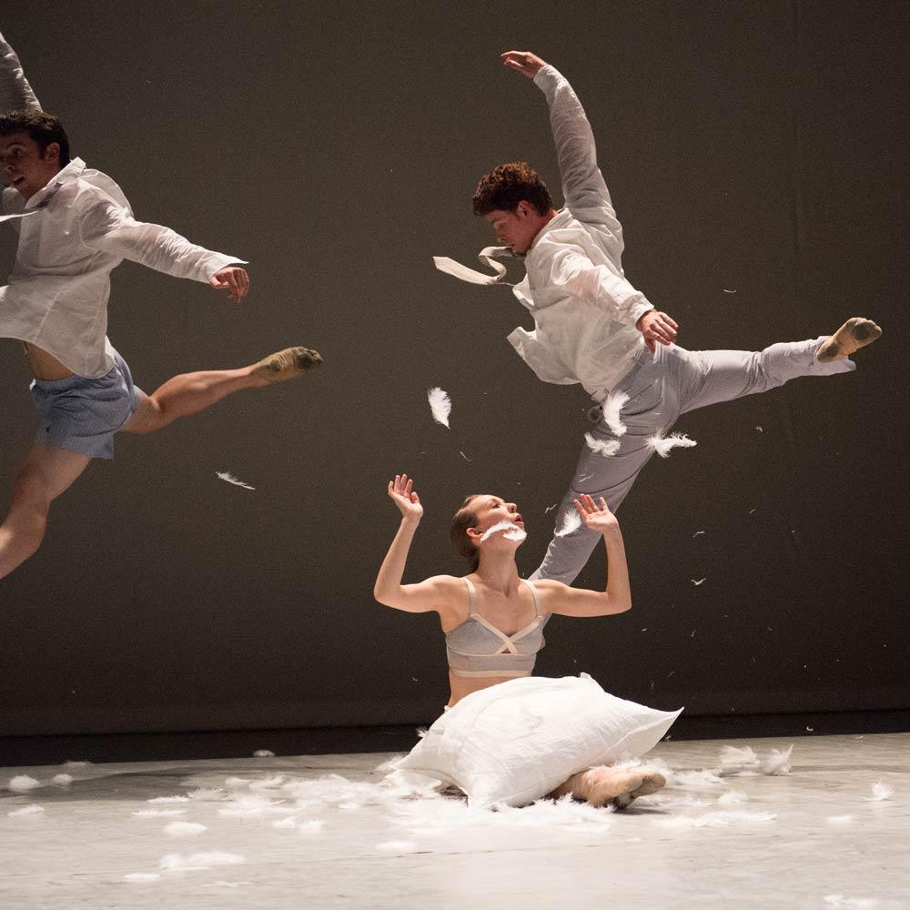 Ben Needham-Wood, Weston Krukow and Rachel Furst in Julia Adam's <I>Sleep Sketches</I>.<br />© David deSilva. (Click image for larger version)