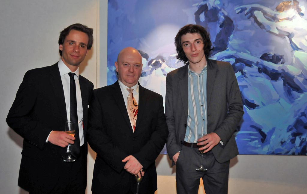 Zdenek Konvalina, Graham Watts, and the artist Tom Campbell in front of his painting.<br />© Dave Morgan. (Click image for larger version)