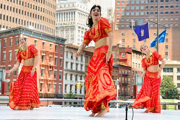The Mayuri Indian Dance Ensemble performs to the Bollywood song <I>Aaja Nachle</I>.<br />© Darial Sneed. (Click image for larger version)