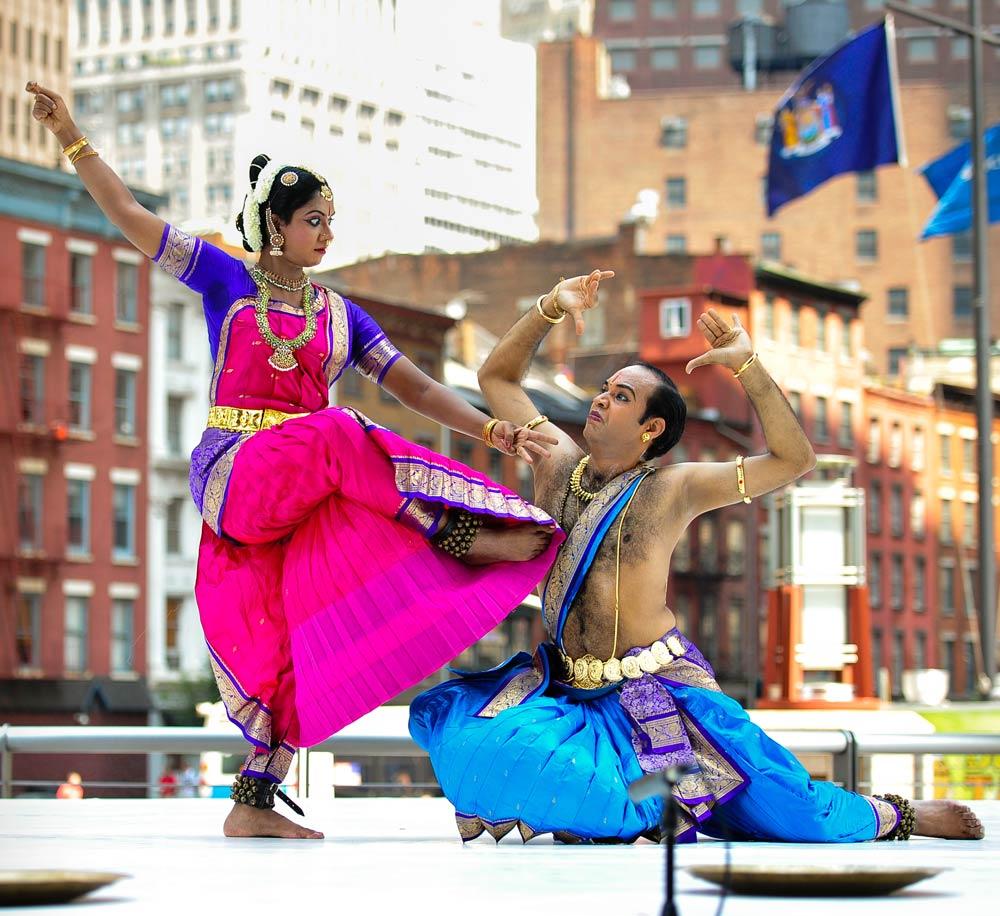 Kuchipudi dancers Jaikishore and Padmavani Mosalikanti in <I>Durga Taranga</I>.<br />© Darial Sneed. (Click image for larger version)