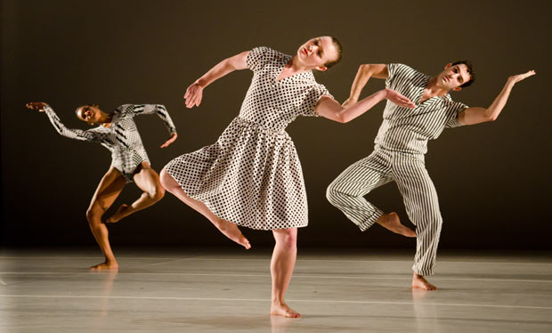 Kristen Foote, Allysen Hooks, and Evan Teitelbaum in <I>Twin</I>.<br />© Liza Voll, courtesy Jacob's Pillow Dance. (Click image for larger version)