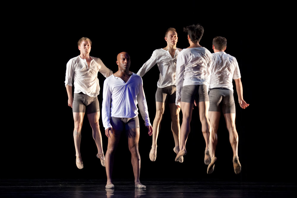 Dennis Adams, Corey Brady, Jeremy Smith, Daniel Santos and Justin Andrews perform in KT Nelson's 2012 work, <I>Cut-Out Guy</I>.<br />© Margo Moritz. (Click image for larger version)