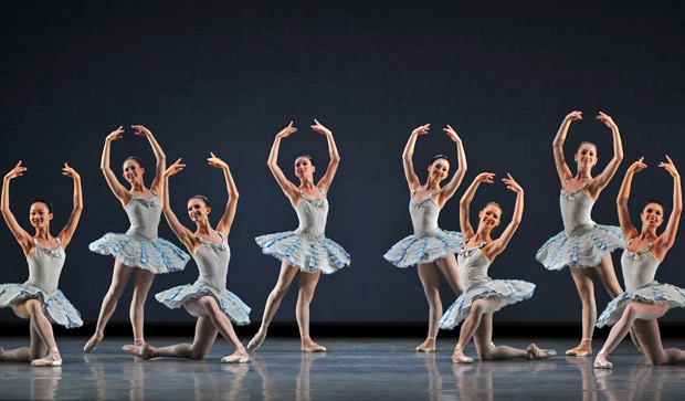 San Francisco Ballet in Balanchine's <I>Divertimento No. 15</I>.<br />© Dave Morgan and courtesy of San Francisco Ballet. (Click image for larger version)