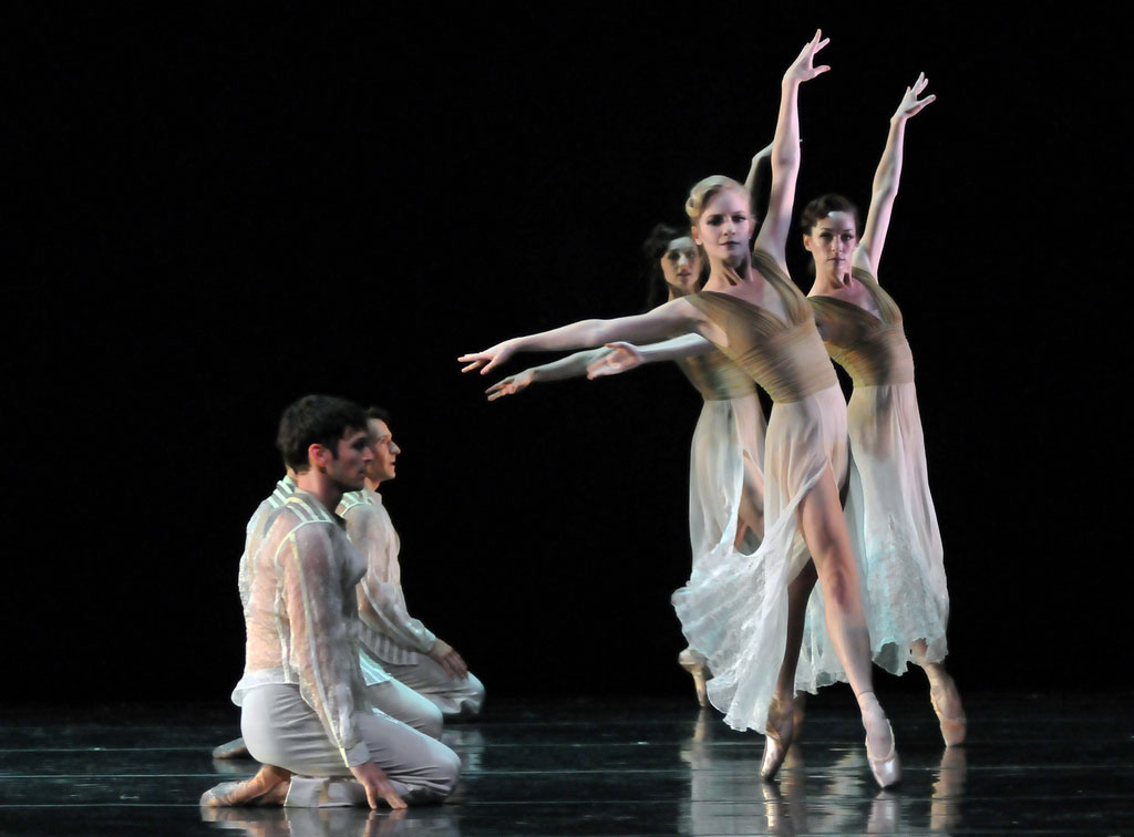 San Francisco Ballet in Wheeldon's <I>Ghosts</I>.<br />© Dave Morgan and courtesy of San Francisco Ballet. (Click image for larger version)