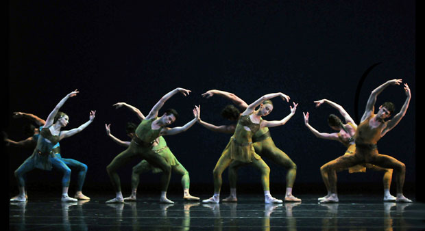 San Francisco Ballet in Wheeldon's <I>Within the Golden Hour</I>.<br />© Dave Morgan and courtesy of San Francisco Ballet. (Click image for larger version)