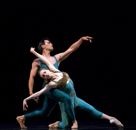 Maria Kochetkova and Joan Boada in Wheeldon's <I>Within the Golden Hour</I>.<br />© Erik Tomasson. (Click image for larger version)