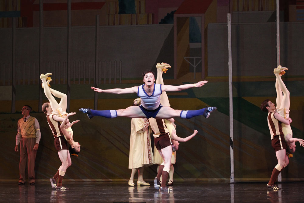 Jack Hersee and artists of The Australian Ballet in <I>Beyond Twelve</I>.<br />© Jeff Busby. (Click image for larger version)