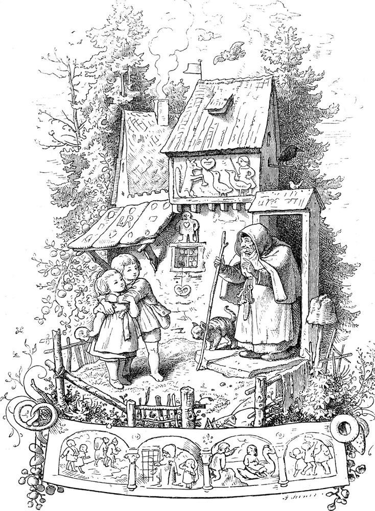 """Illustration of <I>Hansel and Gretel</I> by Ludwig Richter, 1842.<br />Courtesy of <a href= """"http://en.wikipedia.org/wiki/Hansel_and_Gretel"""">Wikipedia</a>. (Click image for larger version)"""