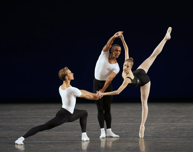 Adrian Danchig-Waring, Craig Hall and Rebecca Krohn in <I>Agon</I>.<br />© Paul Kolnik. (Click image for larger version)