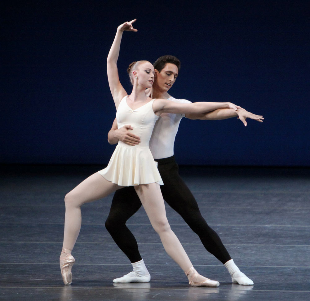 Justin Peck and Teresa Reichlen in George Balanchine's <I>Concerto Barocco</I>.<br />© Paul Kolnik. (Click image for larger version)