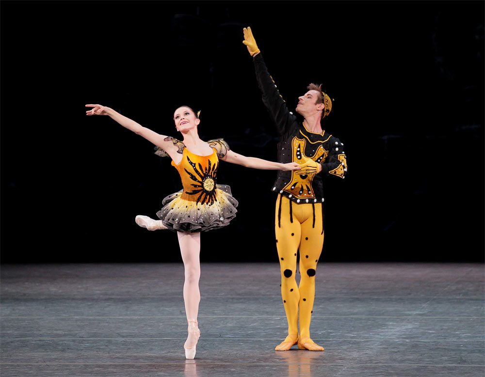Megan Fairchild and Andrew Veyette in <I>Danses Concertantes</I>.<br />© Paul Kolnik. (Click image for larger version)