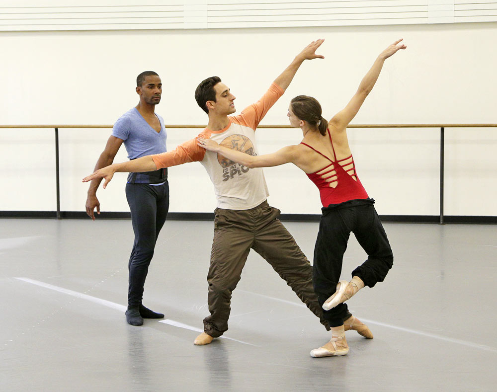 Justin Peck rehearsing Ashley Bouder and Craig Hall in <I>Year of the Rabbit</I>.<br />© Paul Kolnik. (Click image for larger version)