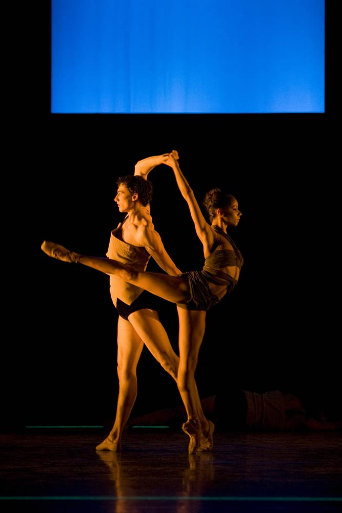 Celine Gittens, here with Tom Rogers in the ballet <I>E=mc2</I>.<br />© Bill Cooper. (Click image for larger version)