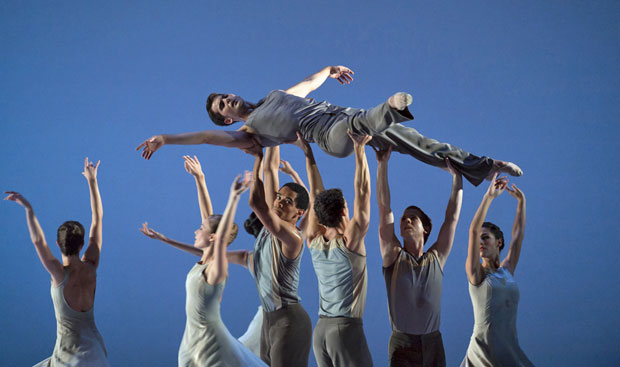 Mathias Dingman with Artists of Birmingham Royal Ballet in the <I>In Ballad Style</I> section of <I>Lyric Pieces</I>.<br />© Bill Cooper. (Click image for larger version)