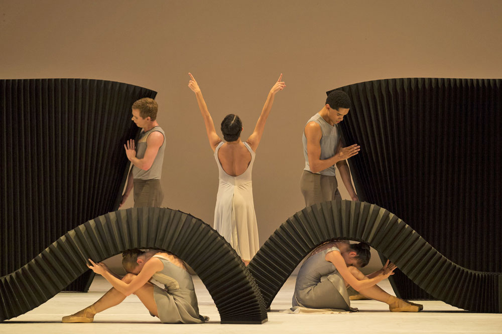 Maureya Lebowitz with Artists of Birmingham Royal Ballet in the <I>March of the Trolls</I> section of <I>Lyric Pieces</I>.<br />© Bill Cooper. (Click image for larger version)