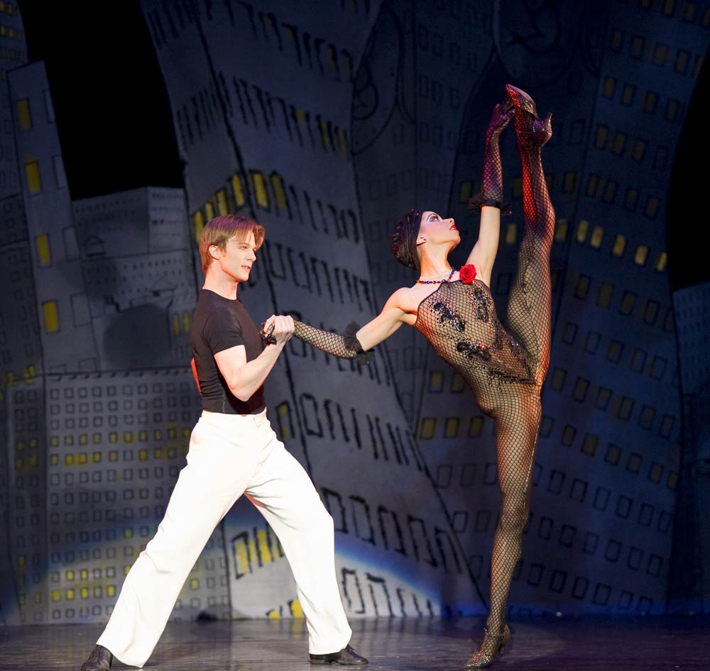 Celine Gittens, here with Robert Parker in the ballet <I>Slaughter on Tenth Avenue</I>.<br />© Bill Cooper. (Click image for larger version)