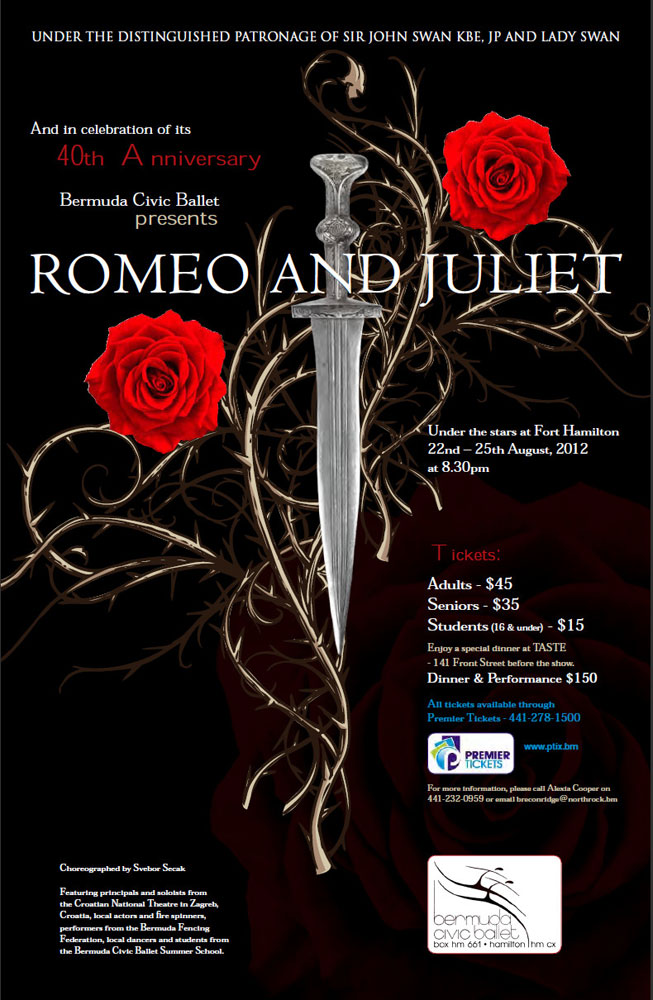 Poster for Romeo and Juliet.© Bermuda Civic Ballet. (Click image for larger version)