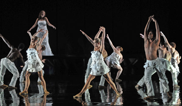 Kirsty Hopkins and Rambert Dance Company in Marguerite Donlon's <I>Labyrinth of Love</I>.<br />© Dave Morgan. (Click image for larger version)
